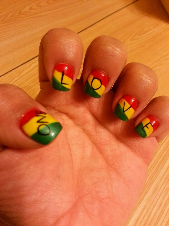 "Rasta Nails! Bob Marley, ""One Love"""