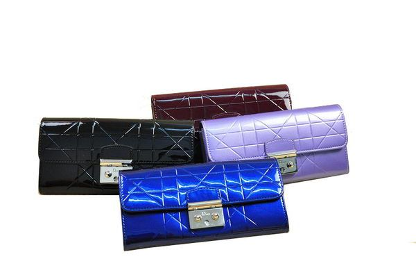 Wholesale Handbags Dior D9003 Flap Wallet in Patent Leahter