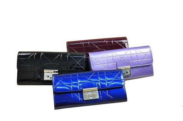 Wholesale Handbags Dior D9003 Flap Wallet in Patent Leahter
