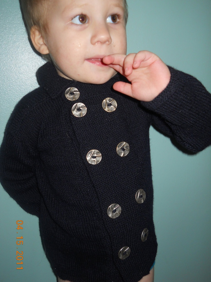 Navy PeaCoat i made my son. own design.