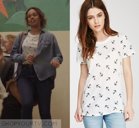 """Jessica Davis (Alisha Boe) wears this white anchor printed tee in this episode of 13 Reasons Why, """"Tape 1, Side B"""". It [...]"""