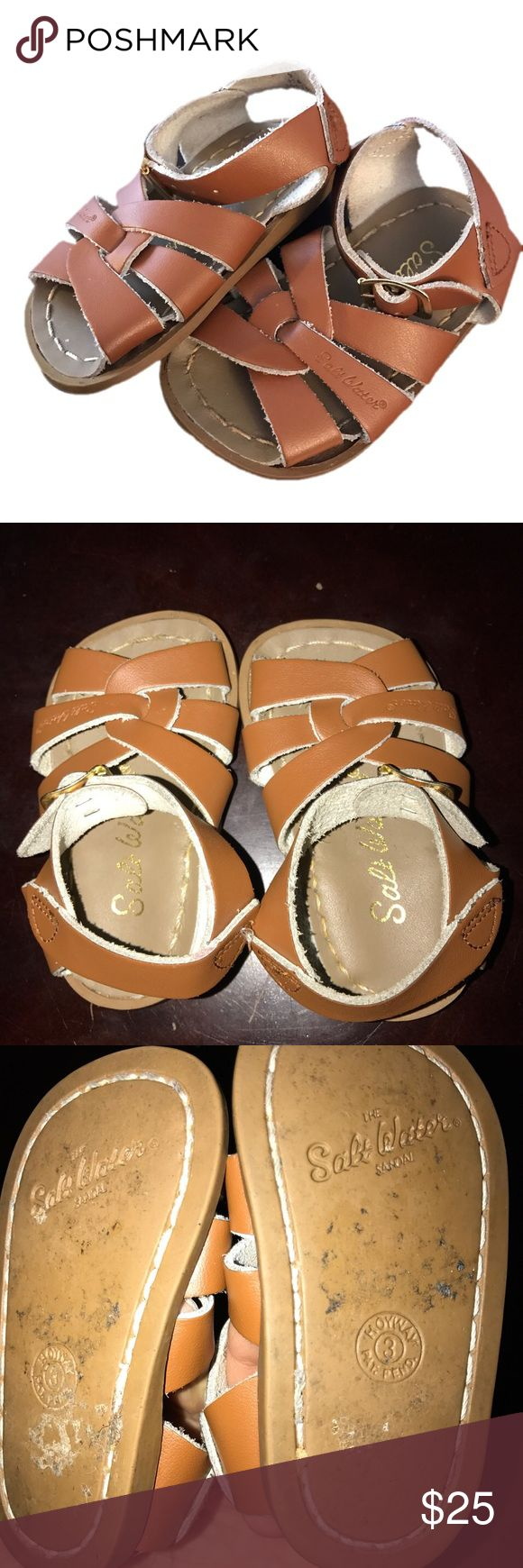 ⭐Salt Waters Size 3 Camel Color Tan Brown Sandals Salt Waters Size 3 Camel Color Tan Brown Sandals. Have dirty bottoms but shoes itself are in great shape. Salt Water Sandals by Hoy Shoes Sandals & Flip Flops