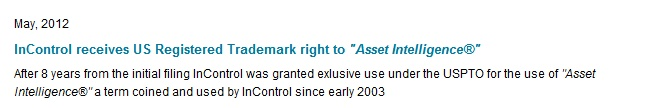"""The phrase """"Asset Intelligence"""" gets trademarked"""