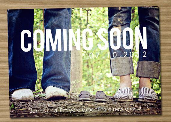 Pregnancy announcement: Printable (Coming Soon photo pregnancy announcement card). $15.00, via Etsy.