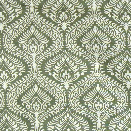 hand printed cotton fabric -  olive green and white indian print - 1 yard ctjp070. $9.50, via Etsy.