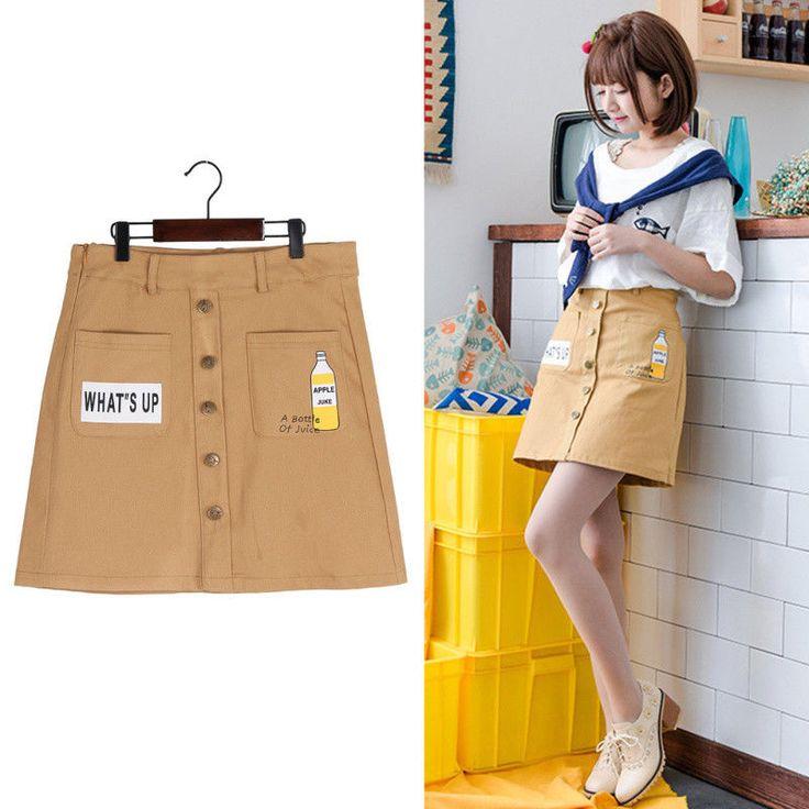 Girl Cartoon Letter Juice Bottle Print Skirt High Waist Pocket Fastener Skirt