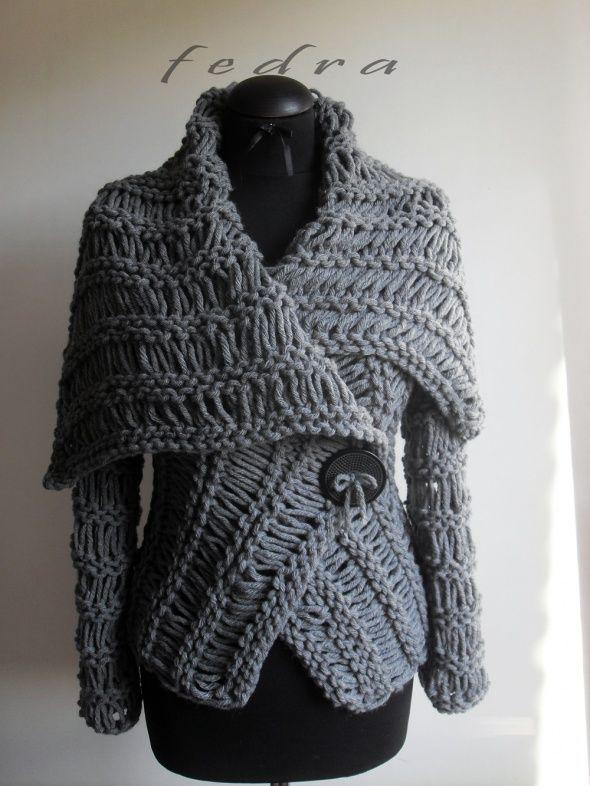 Grey  wrap  sweater by FedRa ($200)