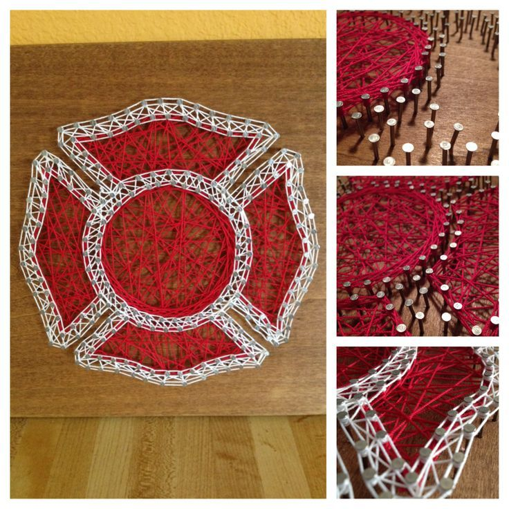 Firefighter string art. Had fun doing this!. Check out that cool T-Shirt here: https://www.sunfrog.com/I-love-my-firefighter-Black-Ladies.html?53507