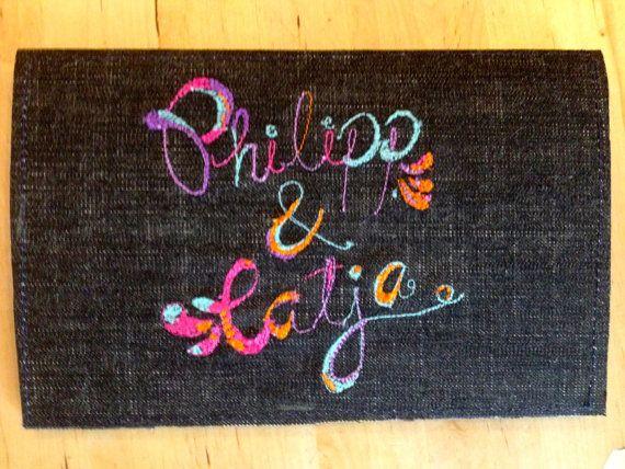 Custom made machine embroidery card #etsy #bonitofracaso #embroidery #cards