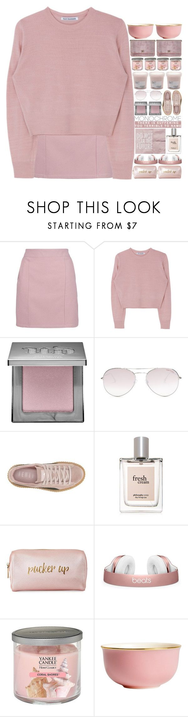 """""""Color Me Pretty: Head-to-Toe Pink"""" by tiffanyelinor ❤ liked on Polyvore featuring Boohoo, Urban Decay, Tom Ford, Puma, philosophy, Neiman Marcus, Yankee Candle, H&M, monochrome and monochromepink"""