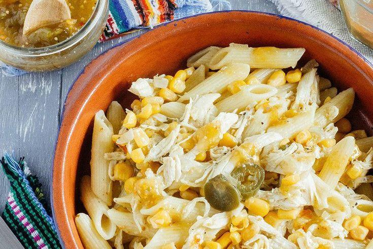 Pastas con pollo a la mexicana. Receta con fotografías del paso a paso y reocmendaciones de degustación. Recetas de comida mexicana fácil de hacer con ingred...