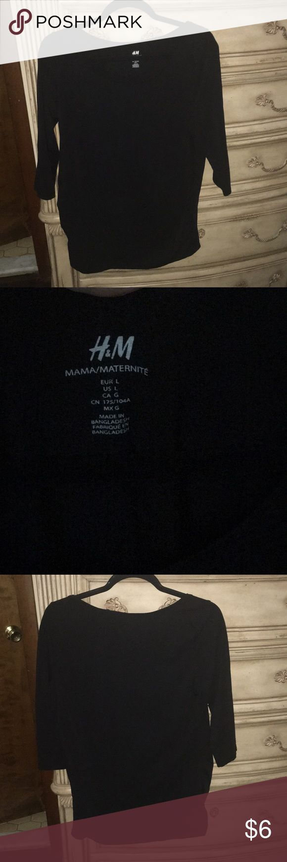 H&M brand 3/4 sleeve maternity shirt H&M brand 3/4 sleeve maternity top ruched sides gently worn. Black. Large. H&M Tops Tees - Short Sleeve