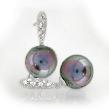 Black Pearl White Gold Diamond Pave Earrings