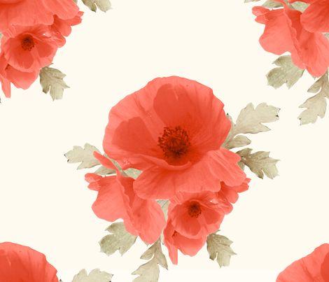 Large Vintage Poppy fabric by cknueppel on Spoonflower - custom fabric