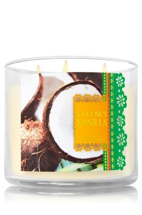 "Coconut Vanilla - 3-Wick Candle - Bath & Body Works - The Perfect 3-Wick Candle! Made using the highest concentration of fragrance oils, an exclusive blend of vegetable wax and wicks that won't burn out, our candles melt consistently & evenly, radiating enough fragrance to fill an entire room. Topped with a flame-extinguishing lid! Burns approximately 25 - 45 hours and measures 4"" wide x 3 1/2"" tall."