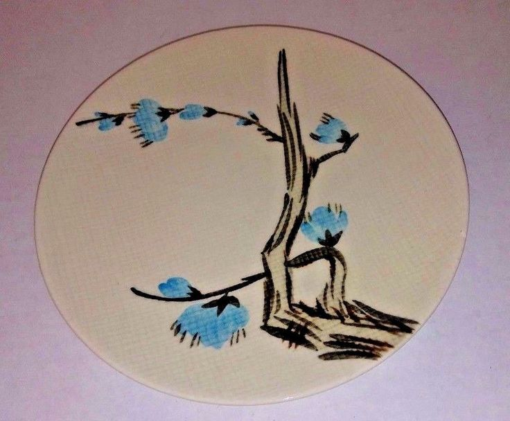 Red Wing Pottery Driftwood Bread Plate 235 Handpainted Made In USA Mid Century