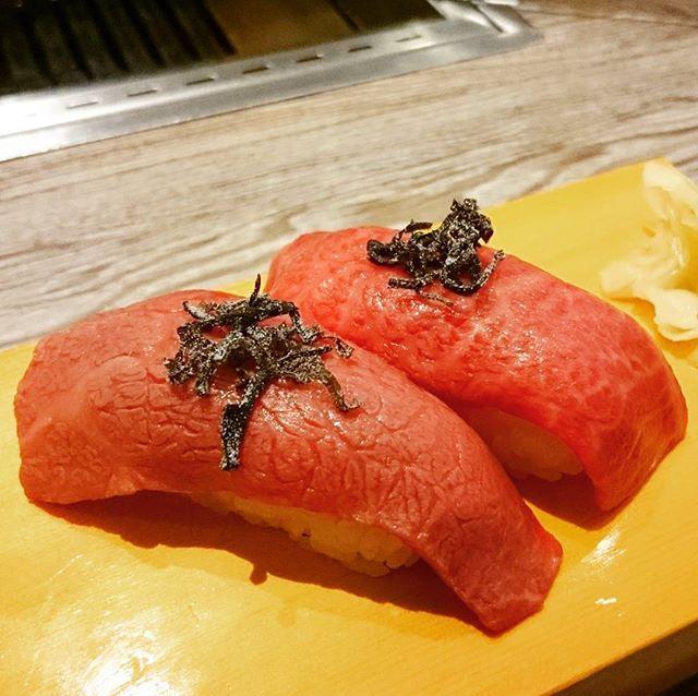 塩焼肉二郎の山形牛クリミの昆布〆赤身握り寿司ー(^3^)/ #焼肉 #肉王子  #焼肉王子 #肉  #牛肉 #肉料理  #和牛 #黒毛和牛  #山形牛 #昆布 #肉寿司 #寿司 #すし #和食 #雪月花 #グルメ #フード  #gourmet #food  #yum #yummy  #beef #yakiniku  #wagyu #meat  #wagyubeef #sushi #japanesefood #cooljapan #japan