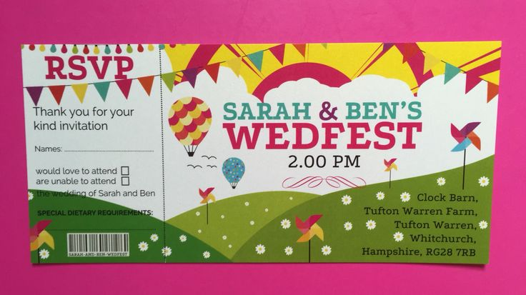 Festival style ticket invite. Perfect for weddings and celebrations.