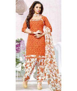 Graceful Orange And White Cotton Patiala Suit.