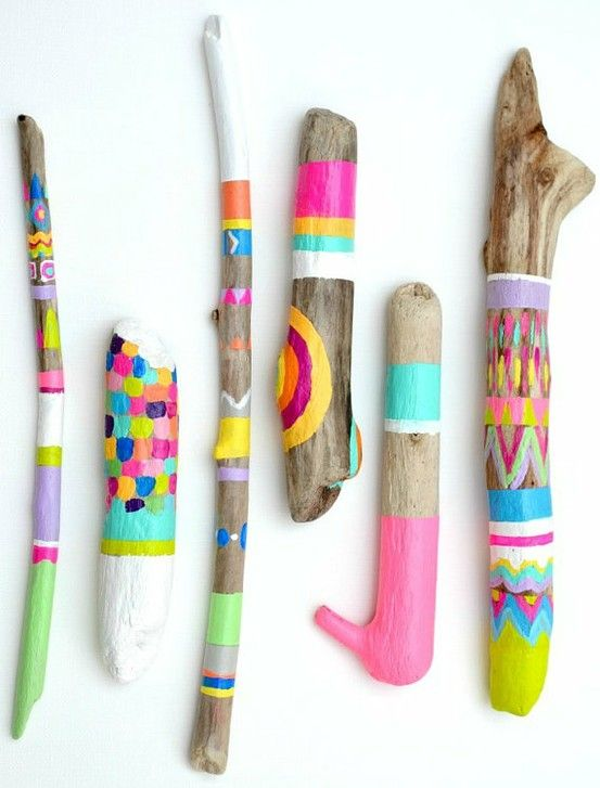 Painted sticks! My dad used to take us to the beach with paints in hand and we would spend our whole afternoon painting the driftwood. We were some very lucky little girls :-)