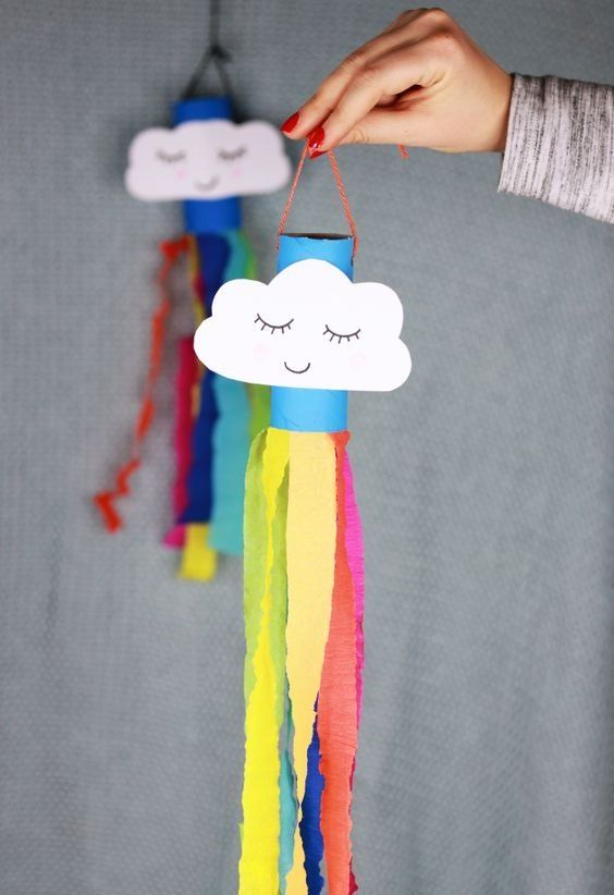 40 Easy Toilet Paper Roll Crafts for Kids and Adults - Fabulessly Frugal Rainbo. - 40 Easy Toilet Paper Roll Crafts for Kids and Adults – Fabulessly Frugal Rainbow windsock toilet - Spring Crafts For Kids, Paper Crafts For Kids, Preschool Crafts, Easter Crafts, Children Crafts, Craft With Paper, Kids Craft Projects, Arts And Crafts For Kids Easy, Daycare Crafts