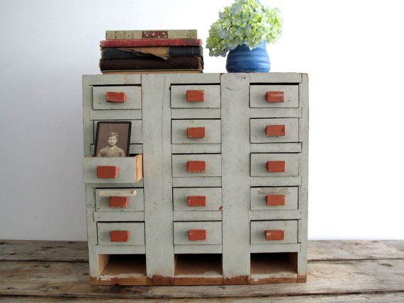 Vintage Industrial Storage Cabinet - Light Blue Apothecary Cabinet with Drawers, Shop Cabinet, Distressed Furniture