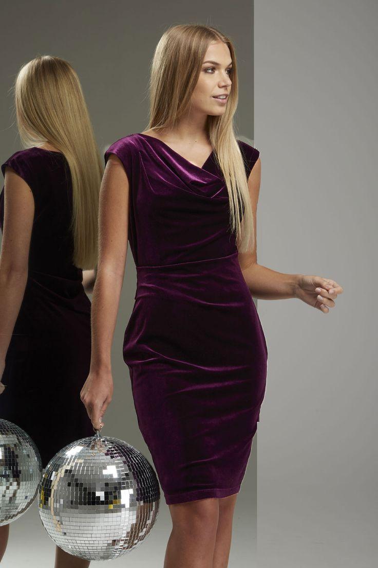 Online Exclusive Cowl Neck Velvet Dress - Free UK Delivery - 16 18 20 10 12 14 - - Romanoriginals.co.uk