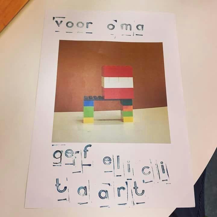 Idee: laat het kind een bouwwerk, kralenplank voor opa,oma,mama,papa enz. Foto (Laten) maken, uitprinten en de kaart zelf stempelen. Wat nieuws voor de kleurplaat!