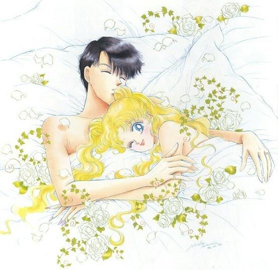 "Mamoru Chiba (Tuxedo Mask) & Usagi Tsukino (Sailor Moon) from ""Sailor Moon"" series by manga artist Naoko Takeuchi."