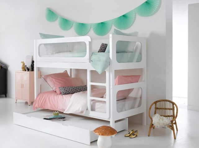lit superpos blanc draps de lit rose et vert bleu chambres d 39 enfants kids rooms pinterest. Black Bedroom Furniture Sets. Home Design Ideas
