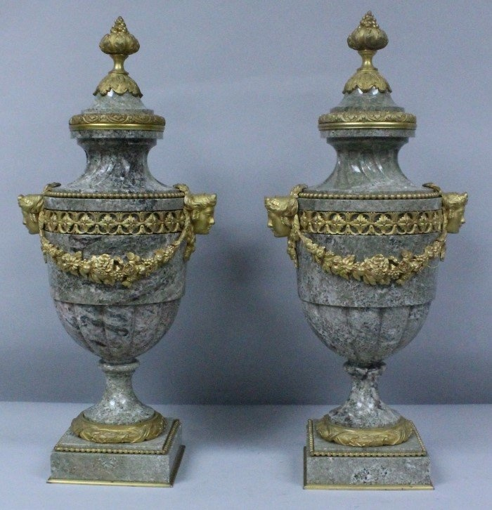 Decorative Urns With Lids Pair Of 19Th Cbronze And Marble Vases With Lids  Ornamented