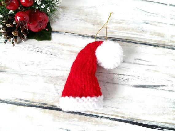 Santa Hat Ornament  Knit Ornament  Christmas Tree by 3LittlePurls