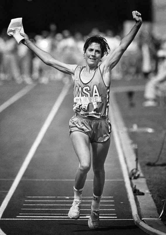 joan benoit samuelson. women marathon runner pioneer. she's 55 and still running on the track (if u remember her in nike ads for celebrating how far the women sports have come)