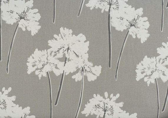 Modern floral print grey fabric by the yard dandelions for Modern home decor fabric prints