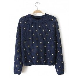 Blue Long Sleeve Crown Embroidered Crop Sweater #celeb16 #Sweater
