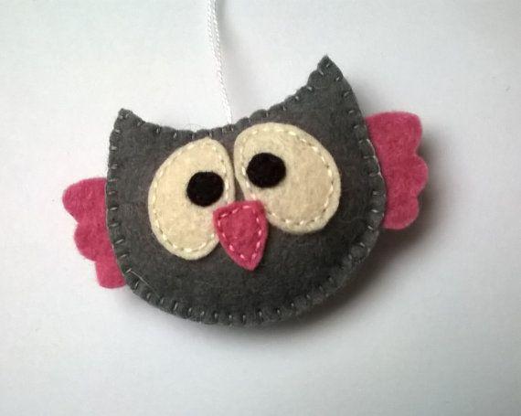 Felt owl ornament handmande Christmas Housewarming home decor