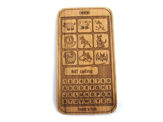 Wooden smart phone teething toy for baby- my geeky heart loves it!