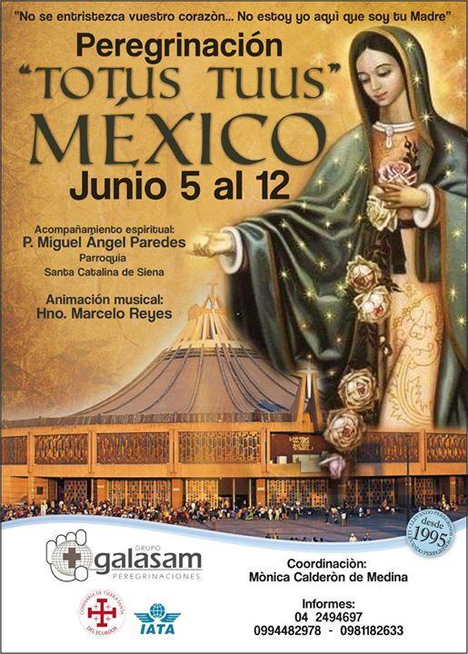 PEREGRINACIÓN A MÉXICO  BASILICA DE NUESTRA SEÑORA DE GUADALUPE DEL 5 AL 12 DE  JUNIO DEL 2017   ACOMPAÑAMIENTO ESPIRITUAL DE UN SACERDOTE AMBIENTE DE MISA DIARIA ORACIÓN Y MEDITACIÓN   DOS RECORRIDOS El Hecho Guadalupano; y Ciudades Patrimonio de la Humanidad   7 Noches  8 Días.  Visitaremos: Ciudad de México - Basílica de la Virgen de Guadalupe - Cuautitlán   - San Miguel de Allende  Dolores Hidalgo  Cerro del Cubilete  - Guanajuato  - Tzinzunzan  Pátzcuaro  - Xochimilco