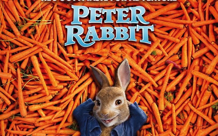 Download wallpapers Peter Rabbit, 2018 movie, 3d animation, poster