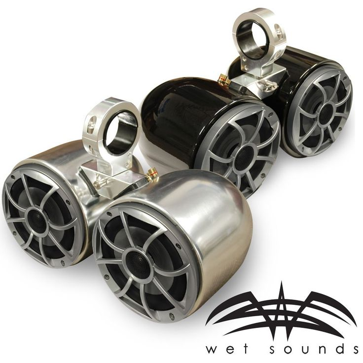 """Wet Sounds Double Barrel Wakeboard Tower Speakers - 2.5"""" Insert - Polished and Anodized - PAIR"""