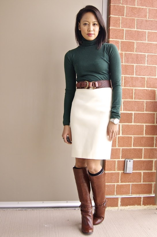 One winter white skirt, five ways.    #style #office #work #businesscasual #businessformal #businesswear