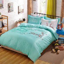 С рождеством христовым олень бирюзовый дети американский флаг постельные принадлежности кровать 4 шт. пододеяльник комплект подарок на рождество рыбы утешитель(China (Mainland))