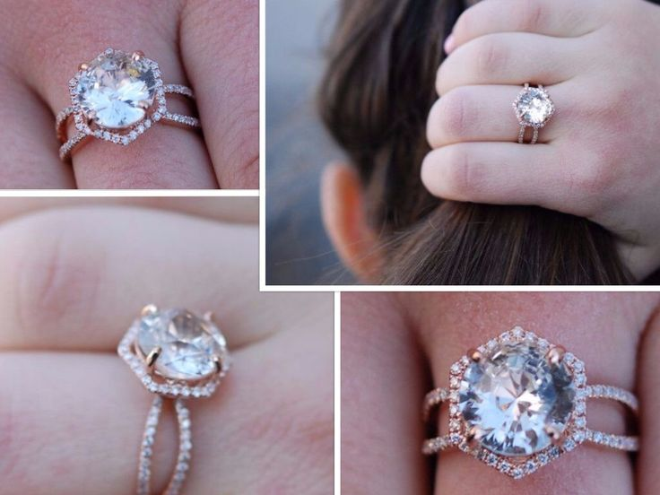Hexagon Engagement Ring. Peach Sapphire Ring. 14k Rose Gold 3ct Round sapphire engagement ring by Eidelpresious by EidelPrecious on Etsy https://www.etsy.com/listing/465088264/hexagon-engagement-ring-peach-sapphire