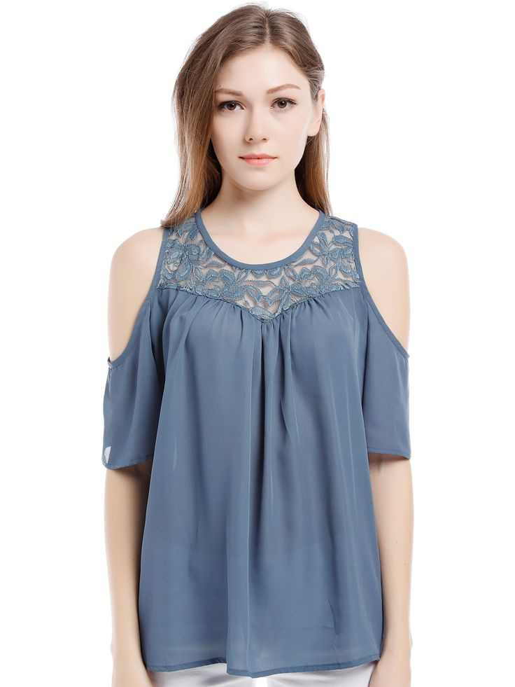 Blooming Jelly O-neck Lace Patchwork Top Short Sleeve Cold Shoulder Blue Blouse Cut Out Fashion Women Summer Shirt Blusa <3 AliExpress Affiliate's Pin. Offer can be found by clicking the VISIT button