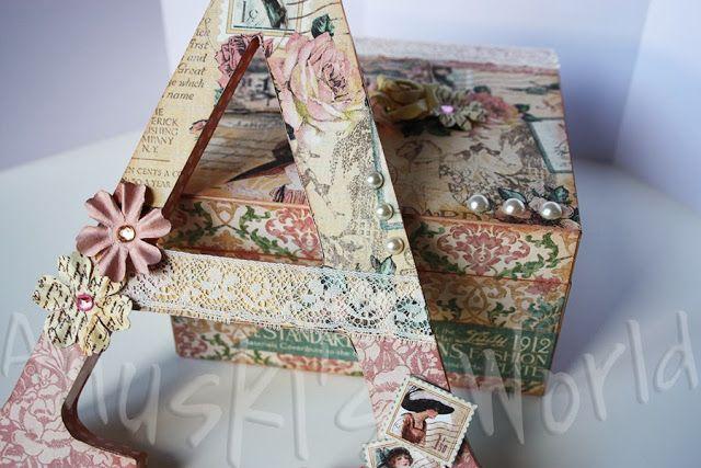 """Caja y letra A de madera decoradas """"A Ladies Diary"""""""