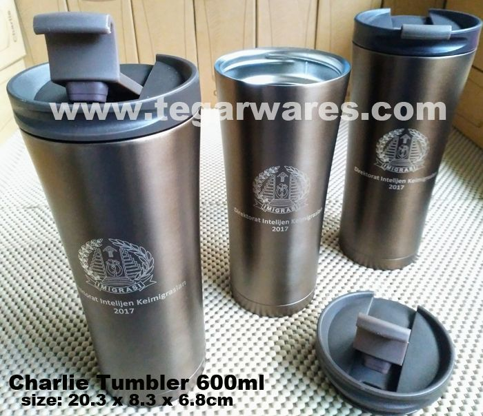 Charlie Tumbler 600ml Brown with laser engraving marking logo ordered by Kementerian Hukum dan Hak Asasi Manusia Direktorat Jenderal Intelijen Keimigrasian Republik Indonesia -Ministry of Justice and Human Rights of the Directorate General of Intelligence Immigration of the Republic of Indonesia-. Jakarta Indonesia