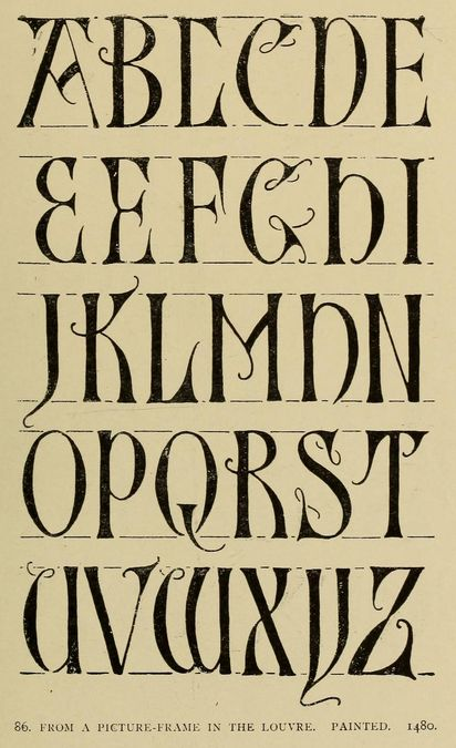 #alphabet from a picture frame in the Louvre, painted, 1480 | Alphabets old and new, for the use of craftsmen (1910), Lewis Foreman Day