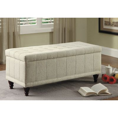 Afton Fabric Bedroom Storage Ottoman