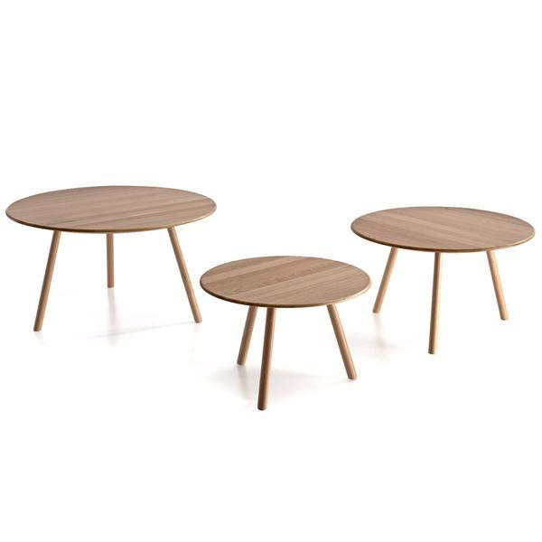 Rund is a family of solid oak side tables to be used independently or in a cluster. By Belta