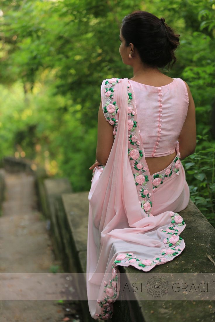 Baby Pink Rose Pure Chiffon Ribbon-Work Saree by EASTANDGRACE